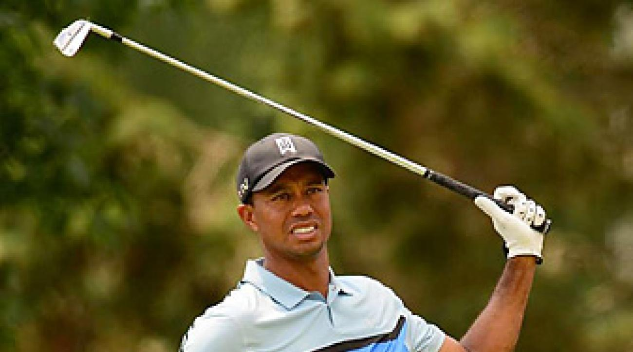 Tiger Woods' first round was derailed on his final hole when Oak Hill's famous trees blocked his approach. He made double-bogey on the hole to finish at 1-over-par.