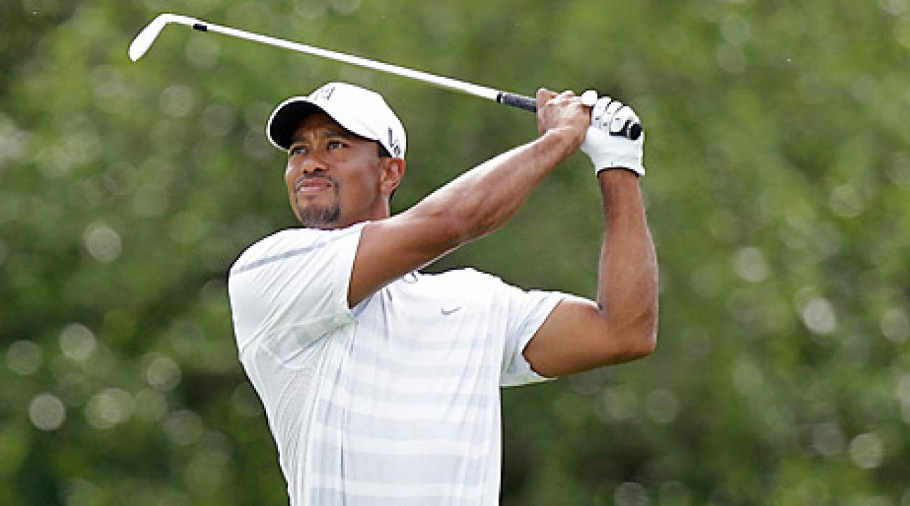 Tiger Woods played 13 holes of practice on Sunday at Merion.