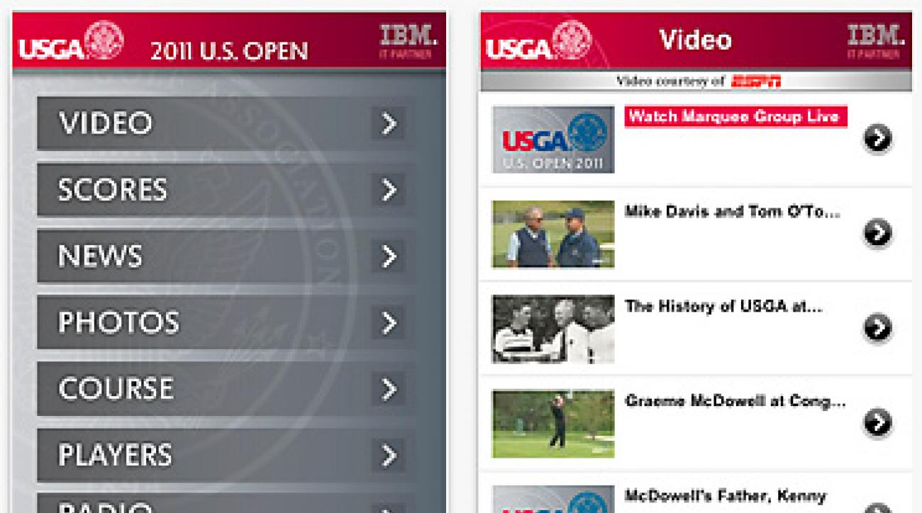 The U.S. Open app for iPhone.