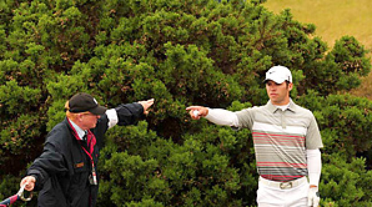Paul Casey's British Open hopes faded after he drove in the gorse on the 12th hole and made a triple bogey.