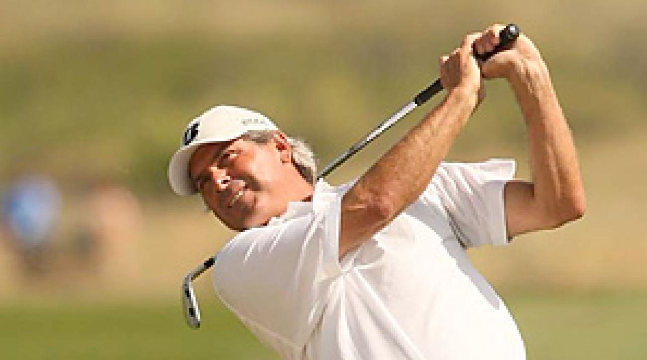 Despite teeing off in the breezy afternoon, Fred Couples's 68 was good for low round of the day.