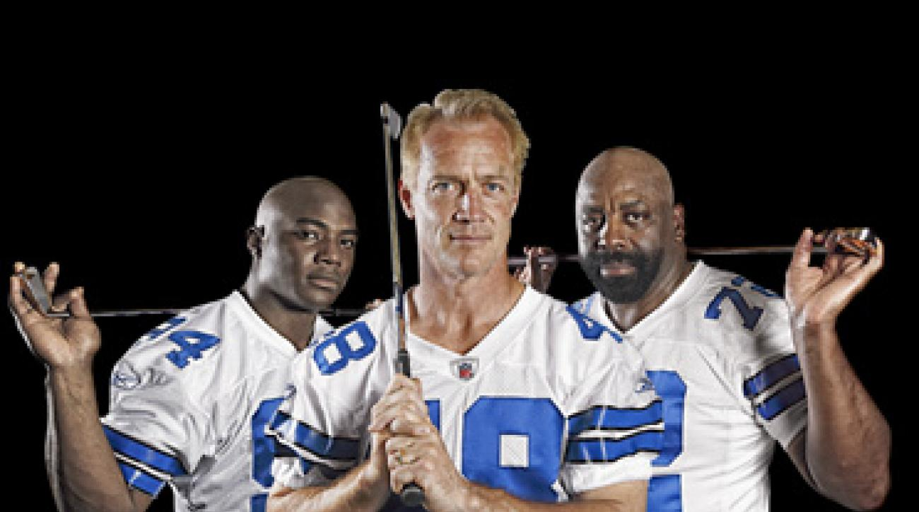 "Star Power: Three generations of Cowboy golfers, from left: DeMarcus Ware (OLB, 2005-present), Daryl Johnston (FB 1989-99), and Ed ""Too Tall"" Jones (DE, 1974-89)."