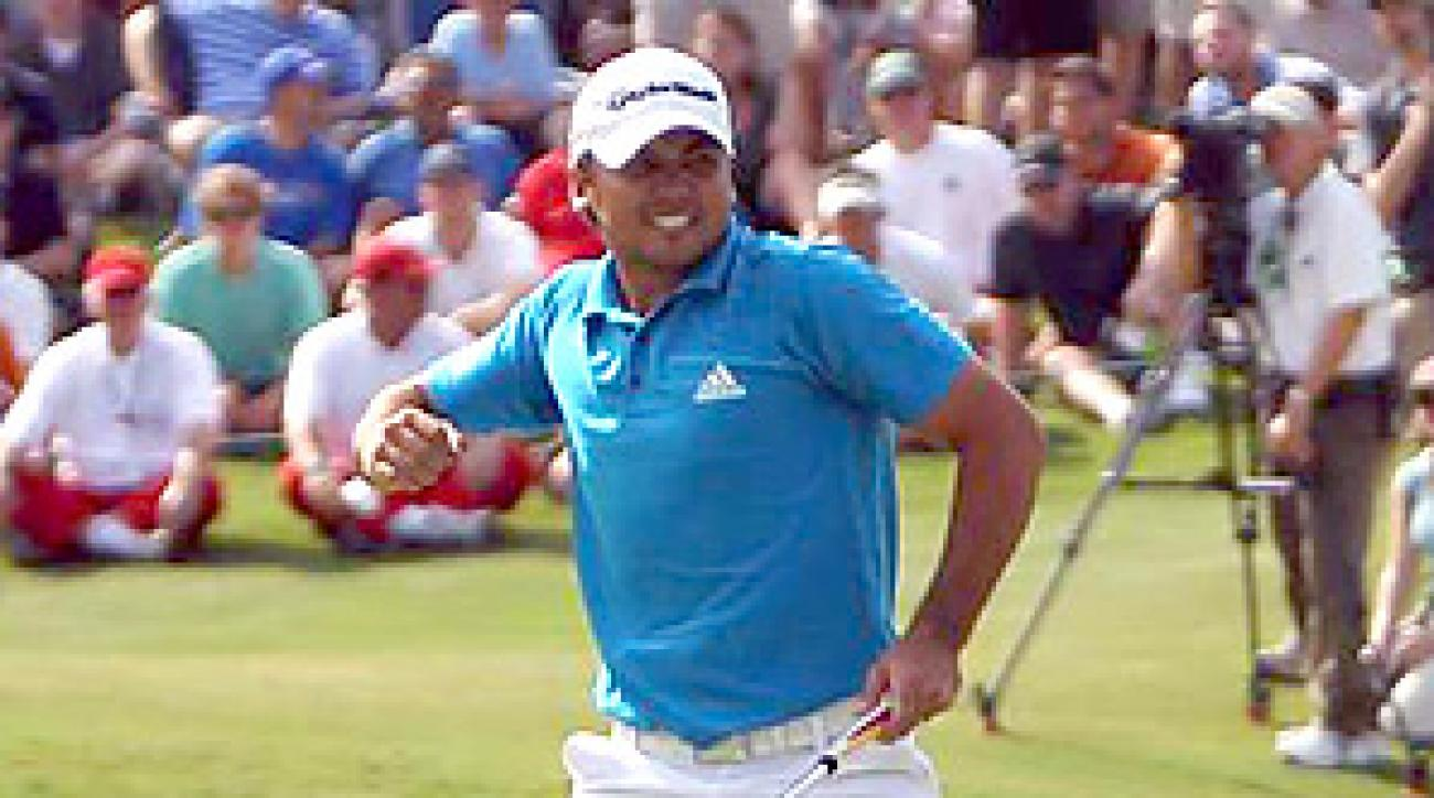 Start of something big? Jason Day celebrated his clinching putt on the 18th hole.