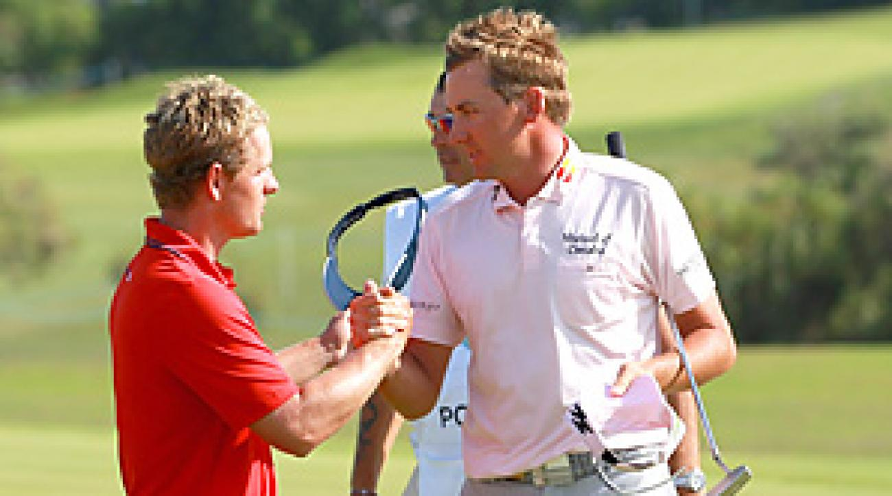 Ian Poulter (right) beat Luke Donald in the final at the Volvo Match Play.
