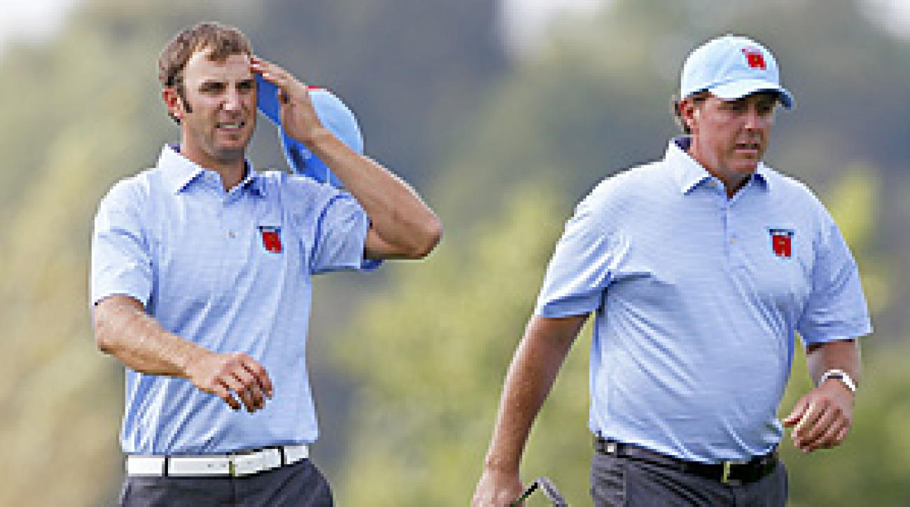Dustin Johnson and Phil Mickelson will represent the U.S. in the opening match on Friday.