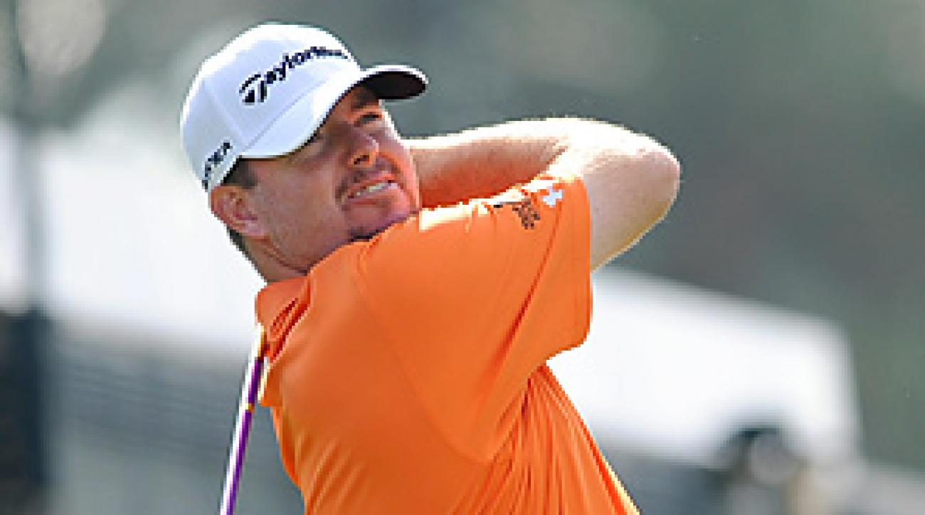 Robert Garrigus is in a five-way tie for the lead after shooting a 64 on Thursday.