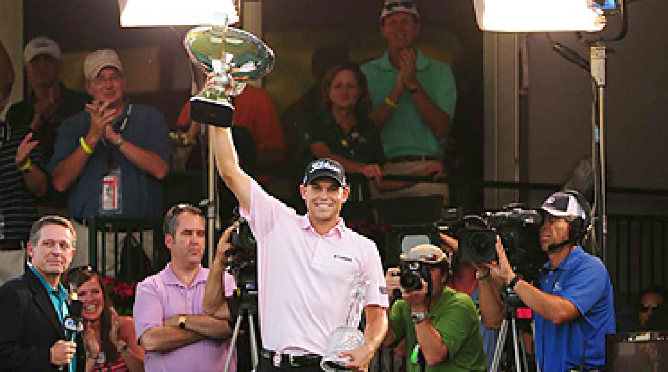 Bill Haas earned two trophies -- and $11.44 million -- for his win at the Tour Championship.