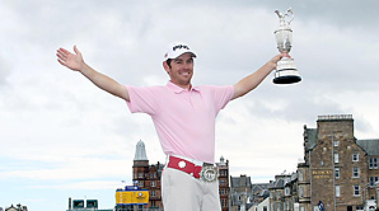 One day after his stunning win, Louis Oosthuizen returned to the 18th hole with the claret jug.