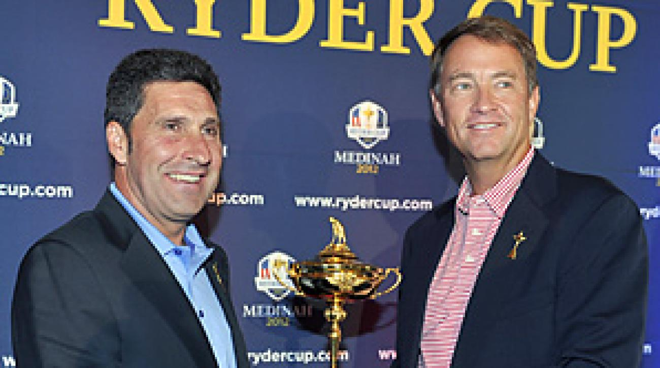 Jose Maria Olazabal and Davis Love III will captain the two sides in the 2012 Ryder Cup.