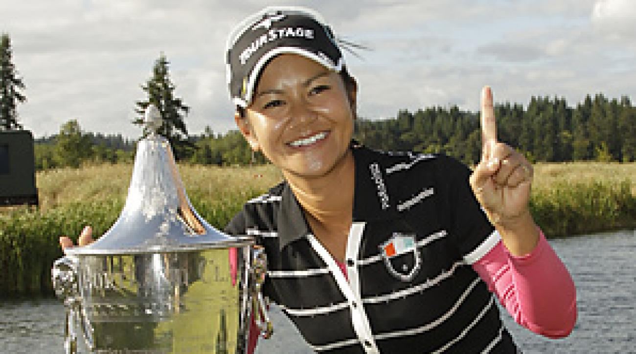 Ai Miyazato won the Safeway Classic and took over the No. 1 ranking on Sunday.