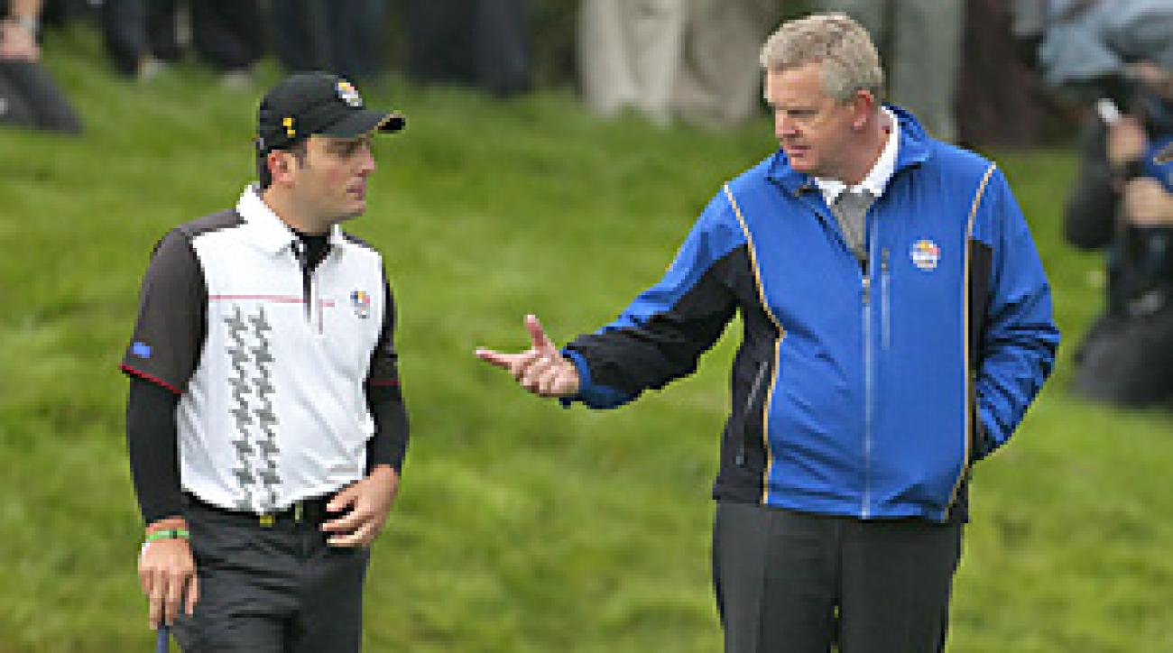 Colin Montgomerie will captain Francesco Molinari (left) and the rest of European team this week at Celtic Manor.
