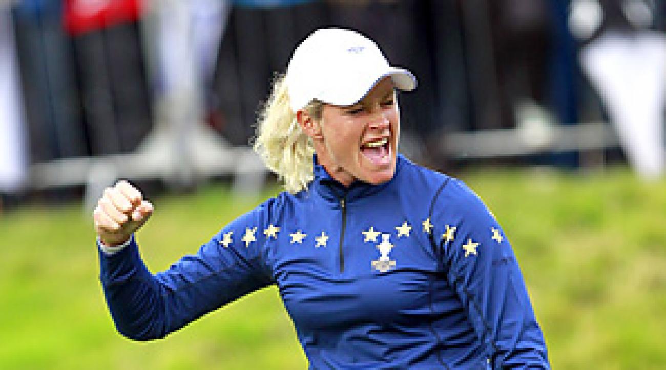 Suzann Pettersen birdied her final three holes to beat Michelle Wie 1 up.