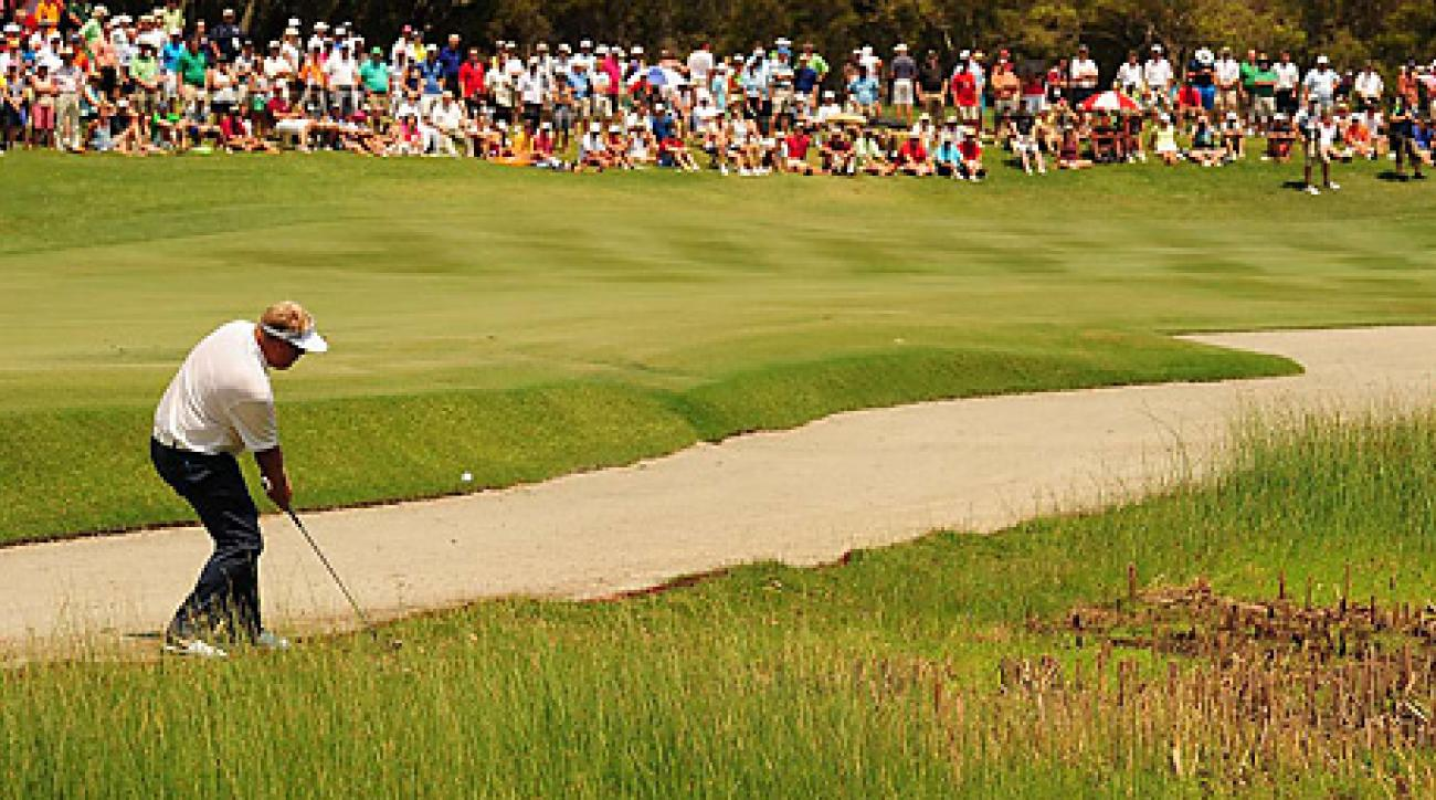 Carl Pettersson moved a leaf during his backswing on this shot on the opening hole, resulting in a two-shot penalty.