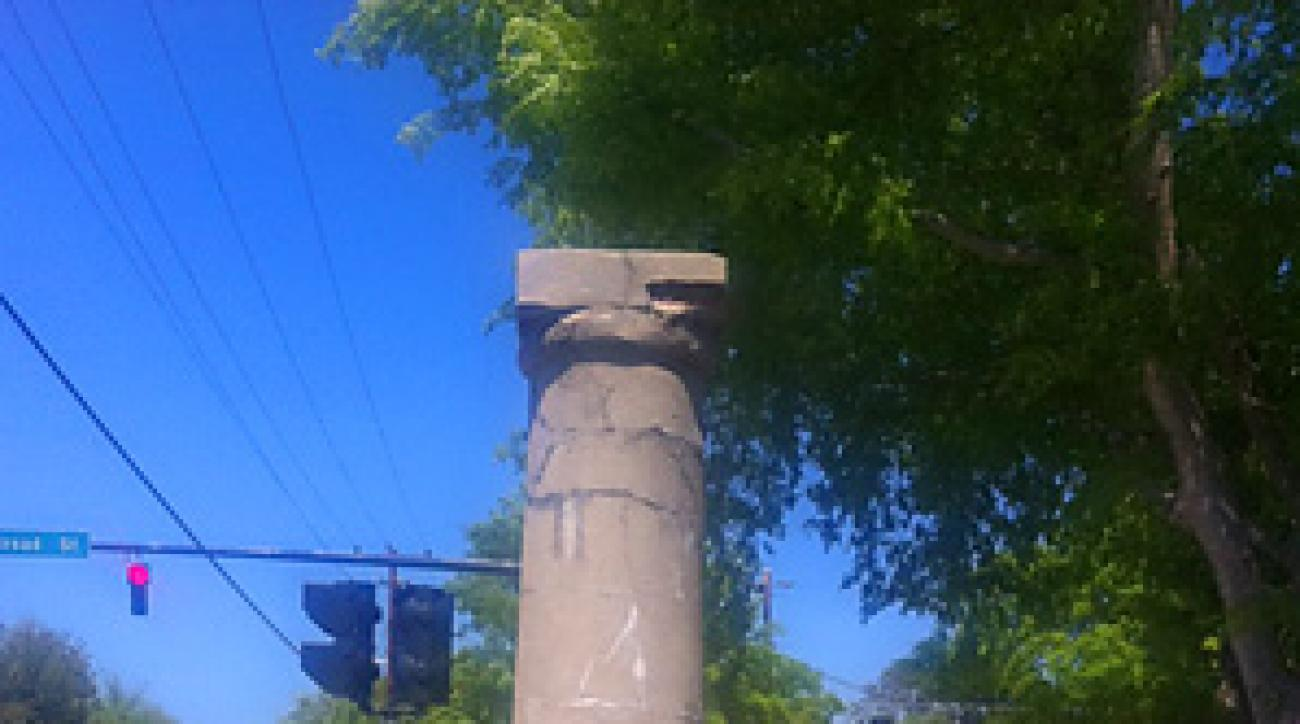 """Augusta's """"Haunted Pillar"""" sits in town near a busy intersection."""