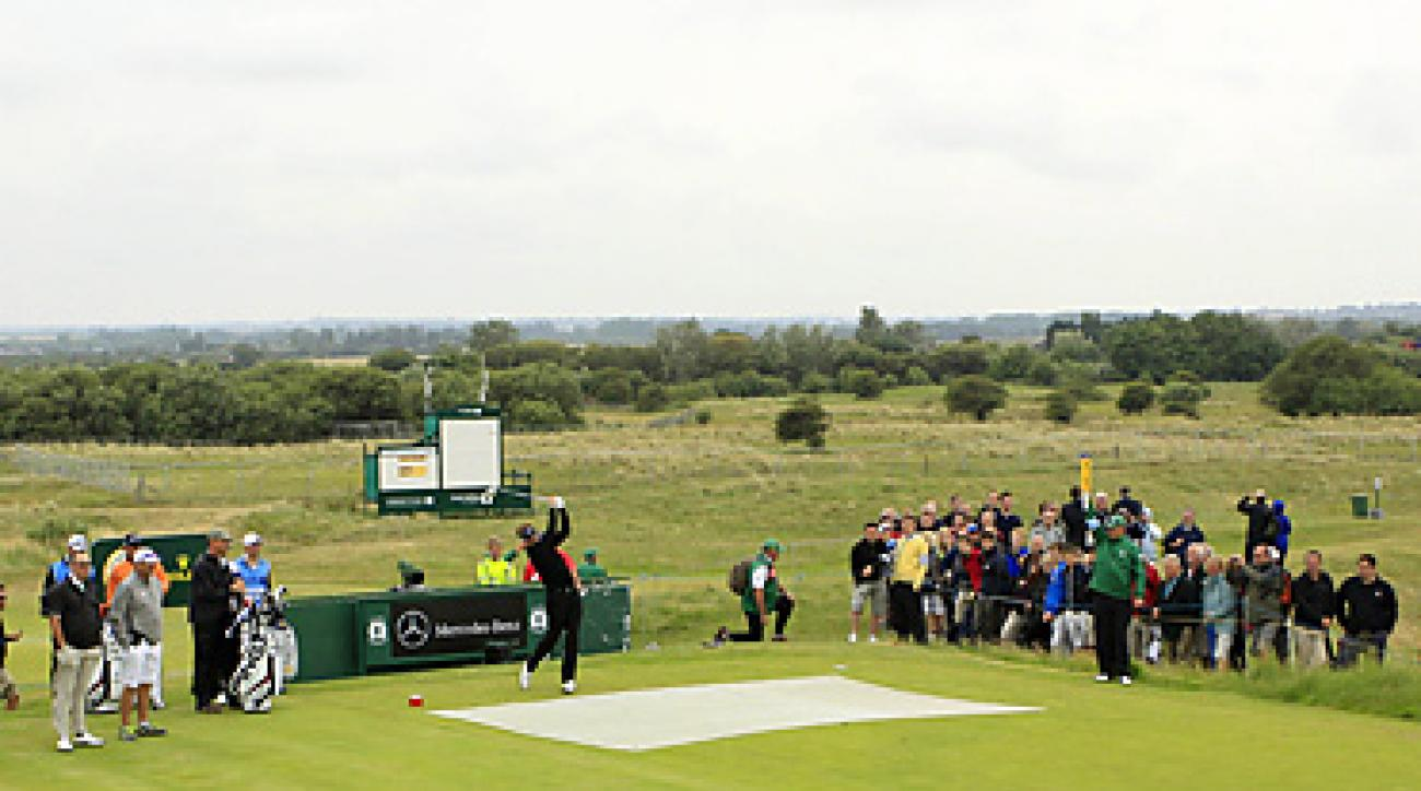 Ian Poulter (teeing off) and the rest of the field saw tougher conditions on Tuesday at Sandwich.