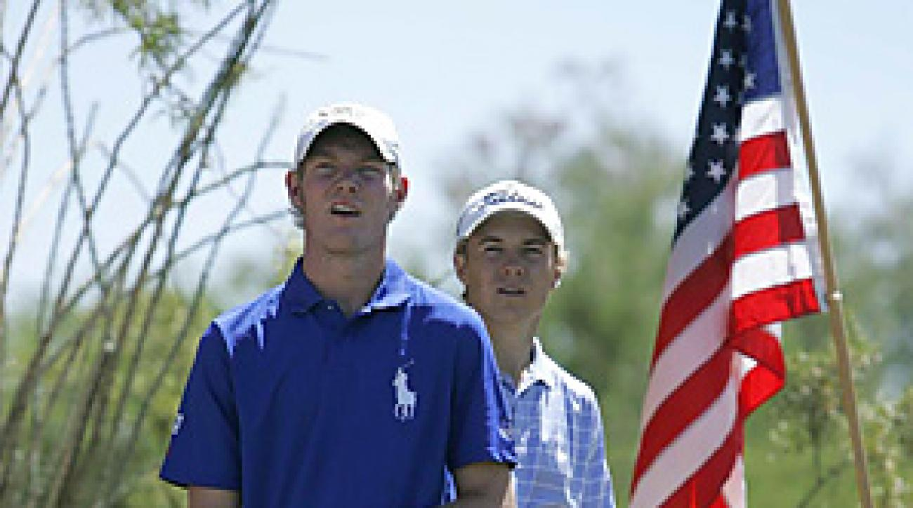After a week of rubbing elbows with the pros, Grayson Murray (left) and Jordan Spieth renewed acquaintances at the Thunderbird.