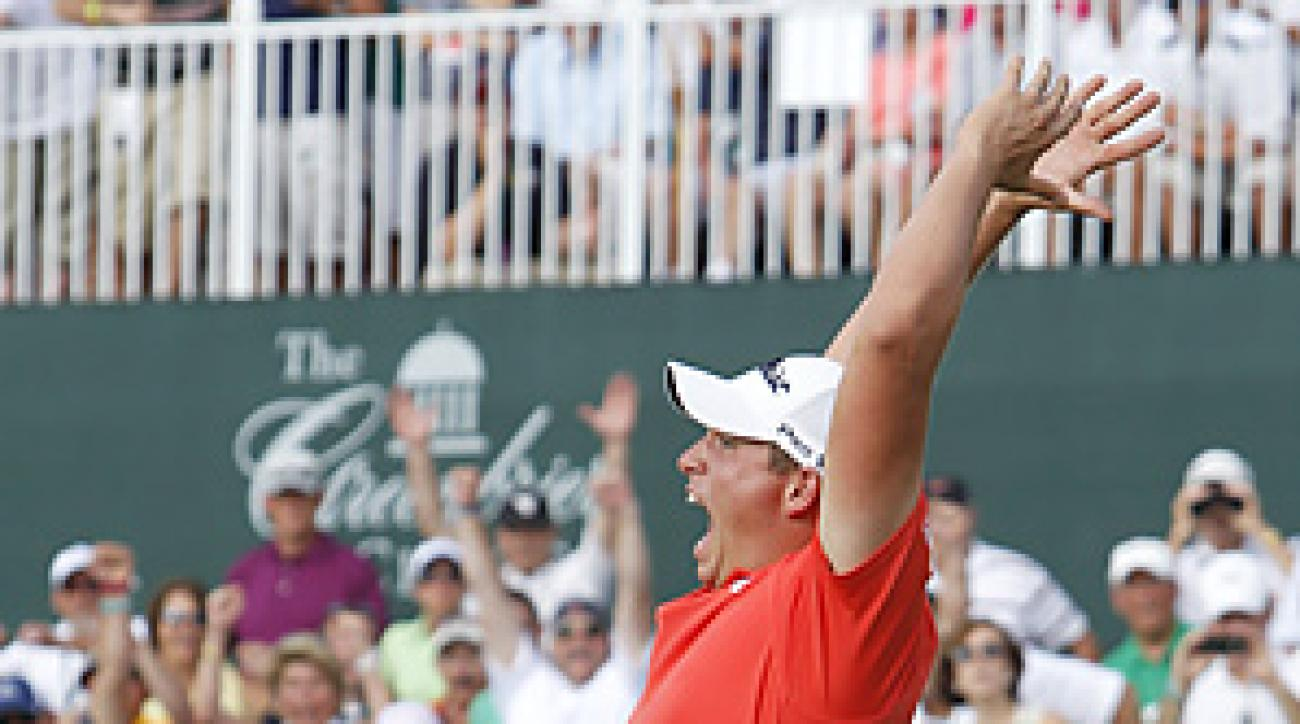 Scott Stallings buried a six-foot birdie putt on the first playoff hole to win the Greenbrier Classic.