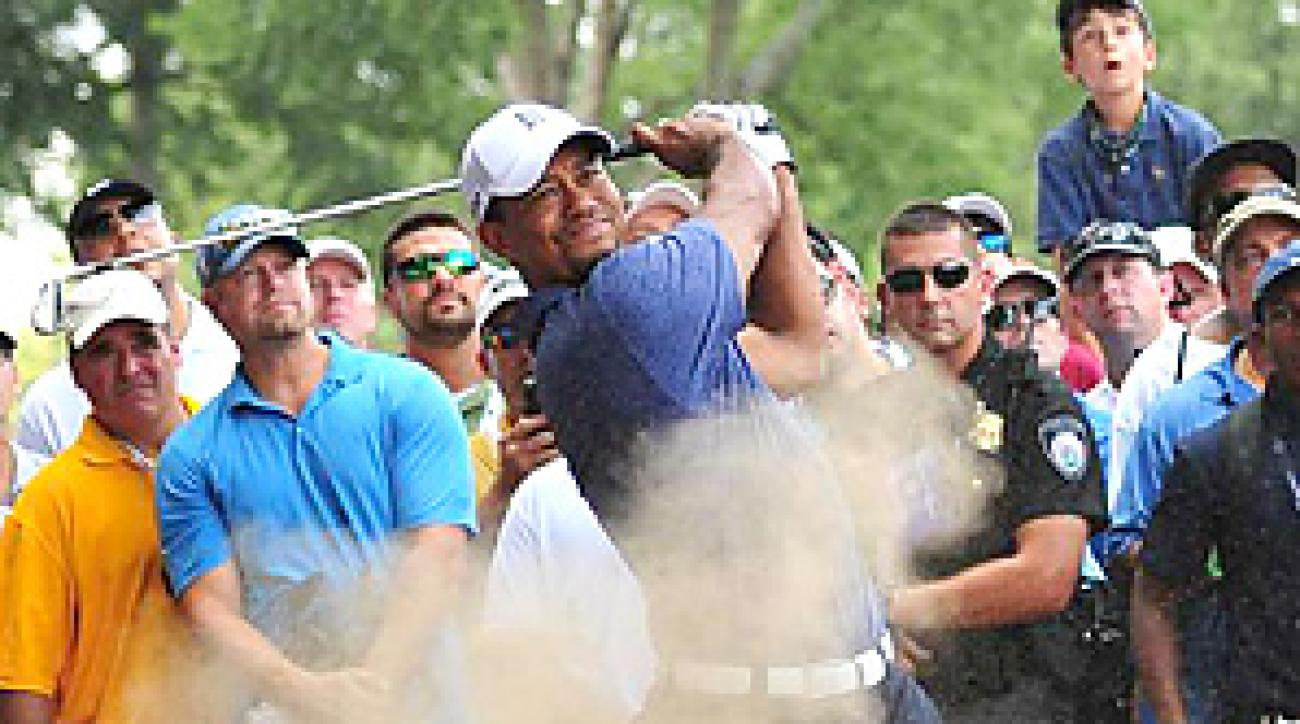 Tiger Woods struggled to hit fairways at the PGA, and missed the cut in a major for the third time in his professional career.