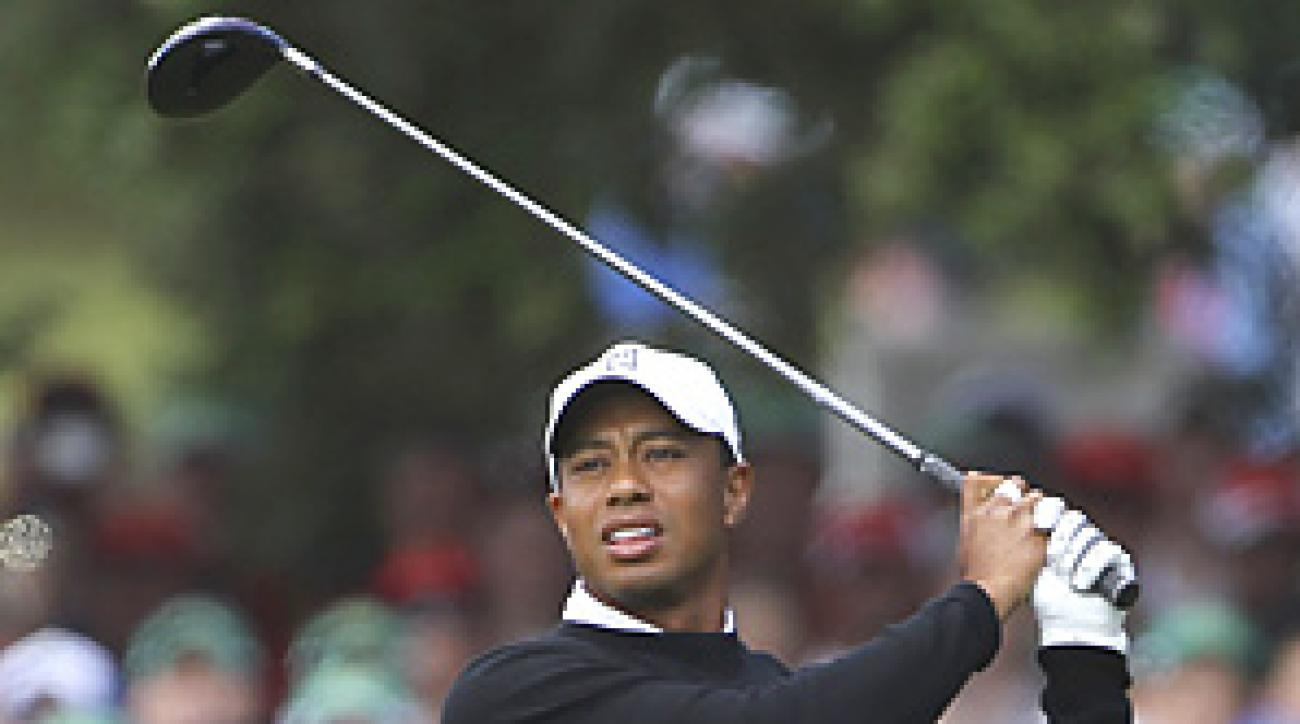 Tiger Woods made six bogeys, one double and one birdie in his opening round at the J.P. McManus Invitational Pro-Am.