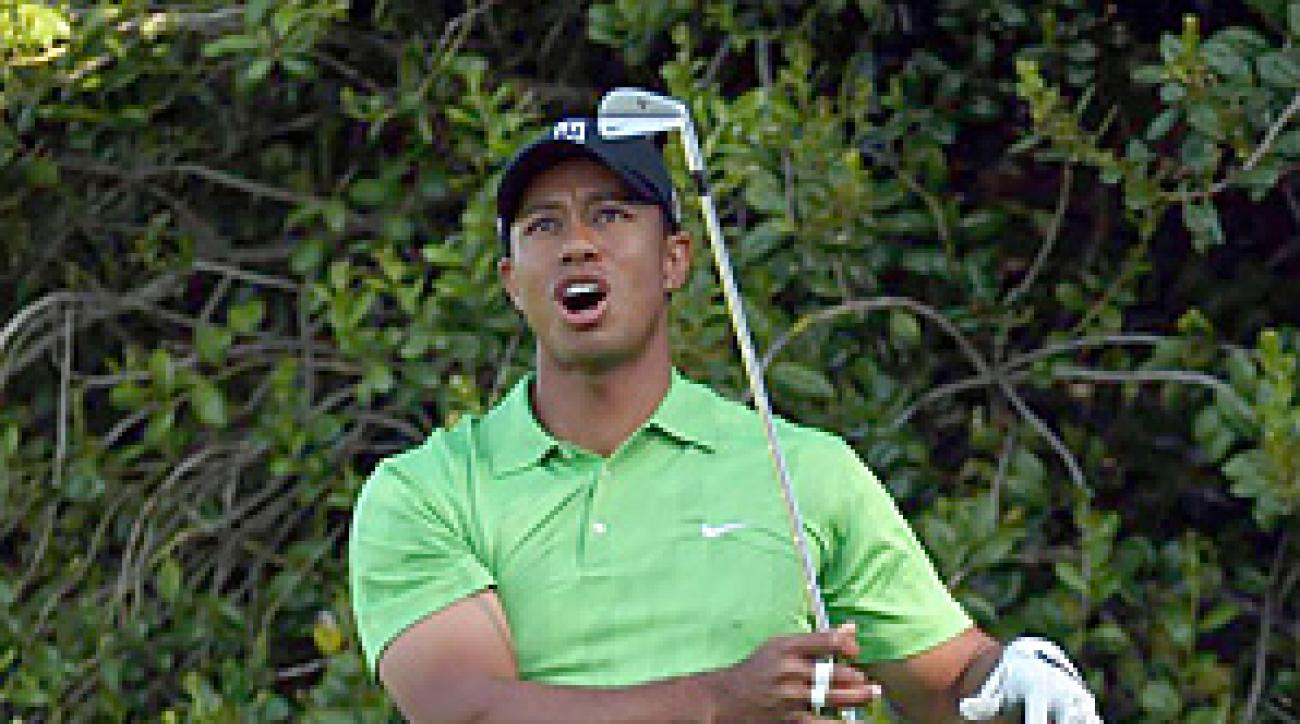 Tiger Woods finished double-bogey, bogey for an opening 74 at Quail Hollow.