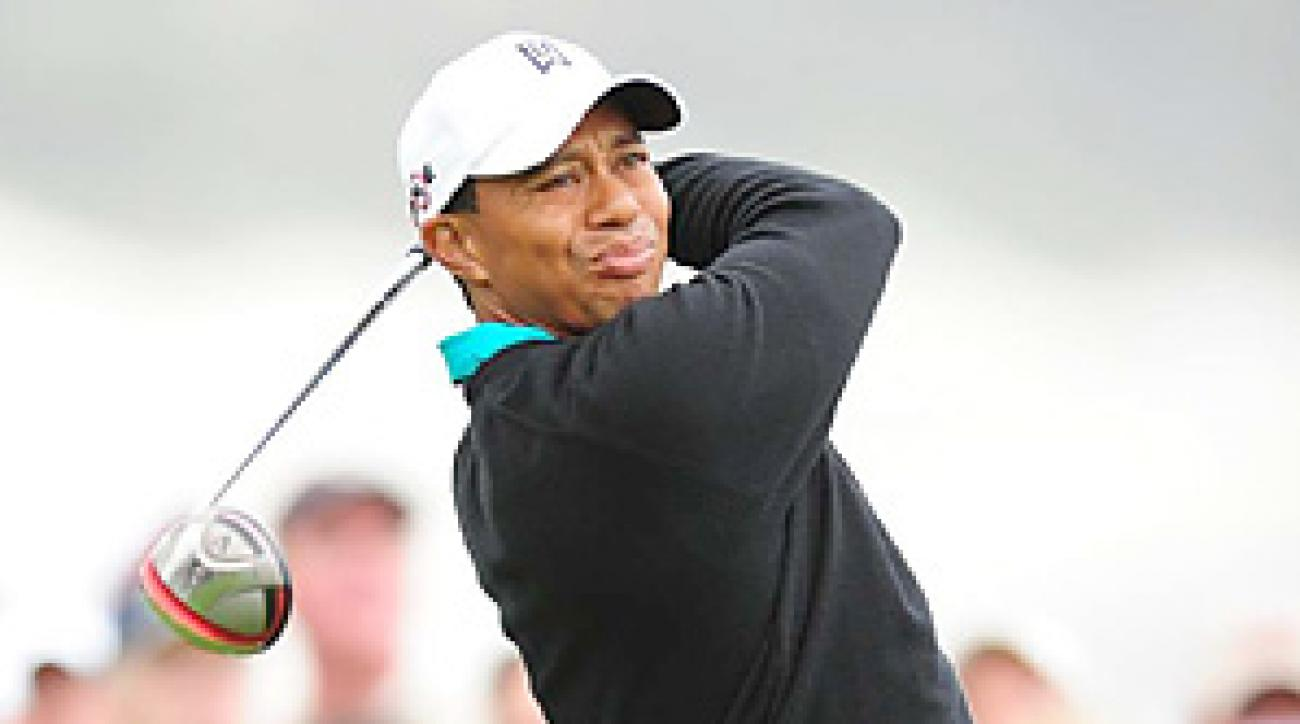 Tiger Woods made four bogeys and three birdies for a second-round 72.