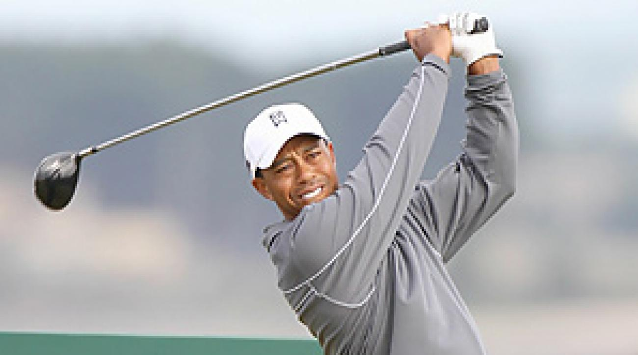Tiger Woods is attempting to become the first player to win three British Open titles at St. Andrews.
