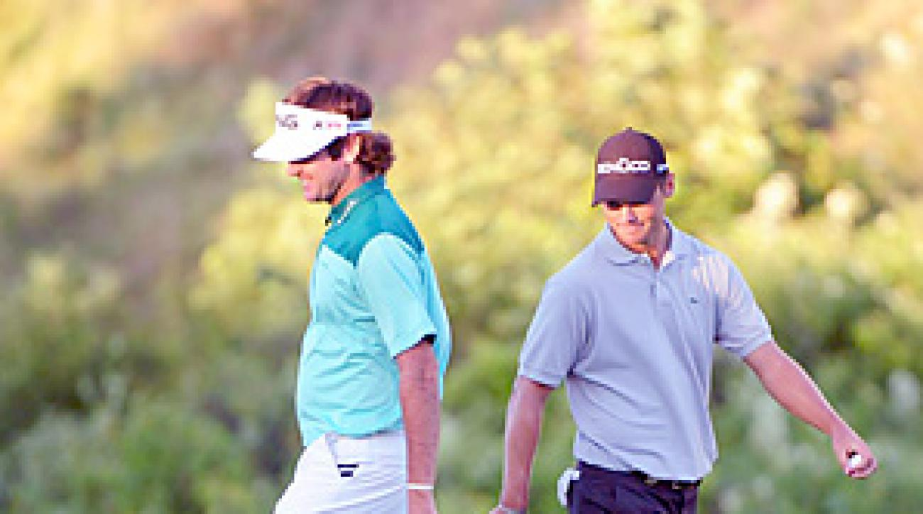 Bubba Watson (left) and Martin Kaymer battled in a PGA playoff that came down to the final hole.