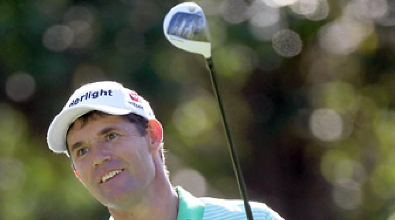 Padraig Harrington shot a course-record 61 on Thursday at the Transitions to take the lead.