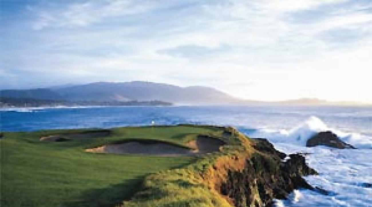"The 7th hole at Pebble is indisputably the most beautiful 106 yards in golf. <span class=""picturesource"">Joann Dost</span>"
