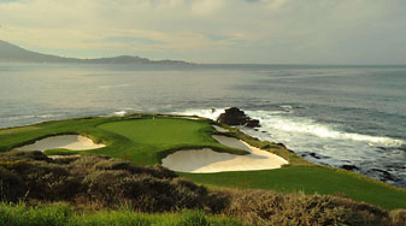 The par-3 7th hole at Pebble Beach.