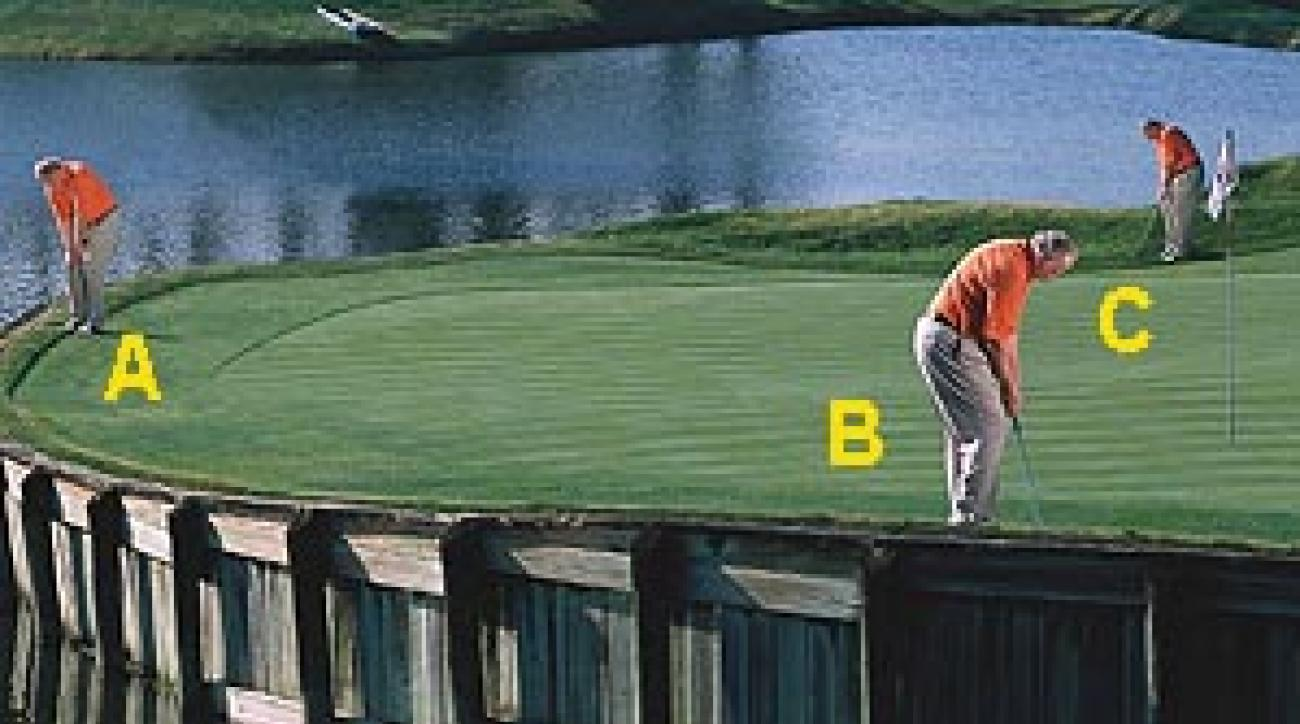 """One green, three shots: Practice a varitey of different chips to improve your short-game versatility. <SPAN CLASS=""""picturesource"""">Leonard Kamsler</SPAN>"""