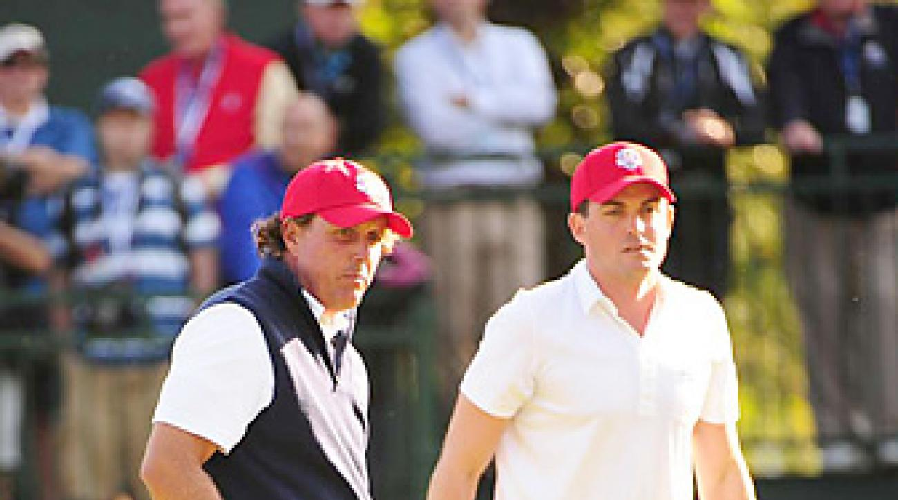 Phil Mickelson and Keegan Bradley led the U.S. with an inspired showing on Friday.