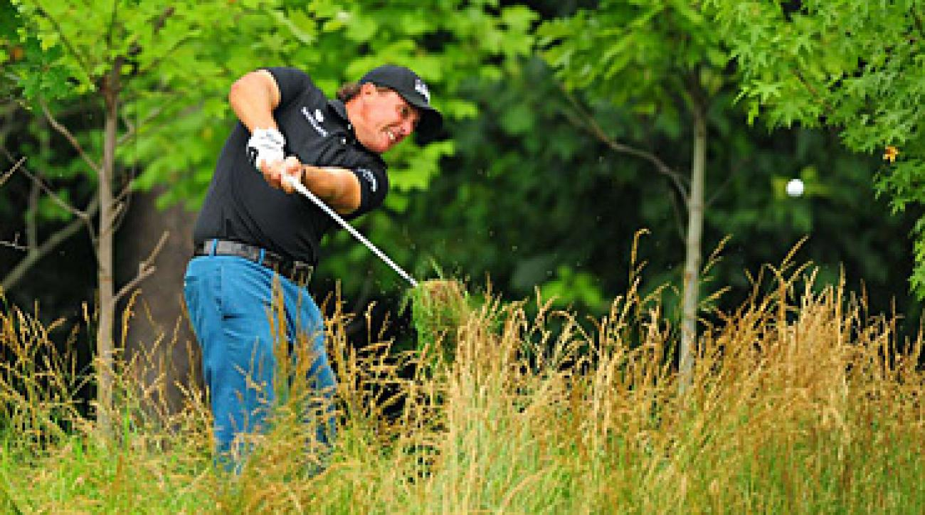 Phil Mickelson found himself in some tough spots on Thursday.