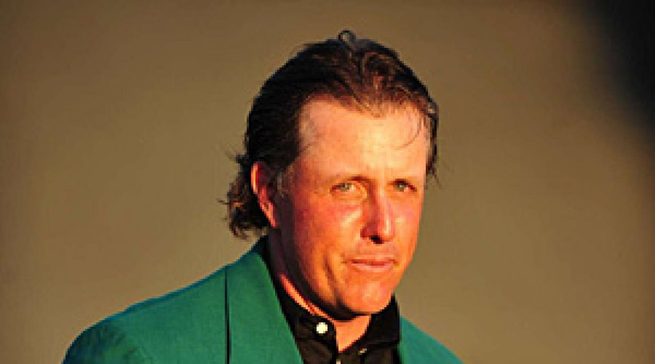 Phil Mickelson was emotional during the green jacket ceremony on Sunday.