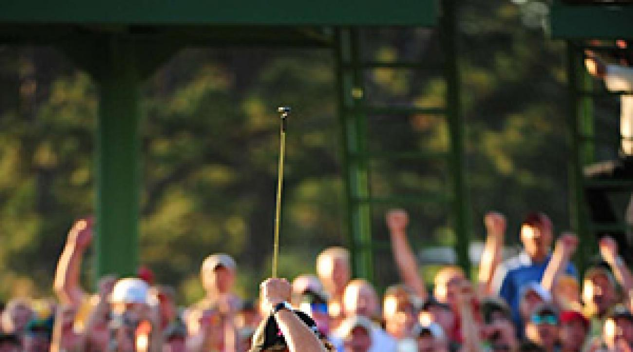 Mickelson after sinking the winning putt on 18 on Sunday.