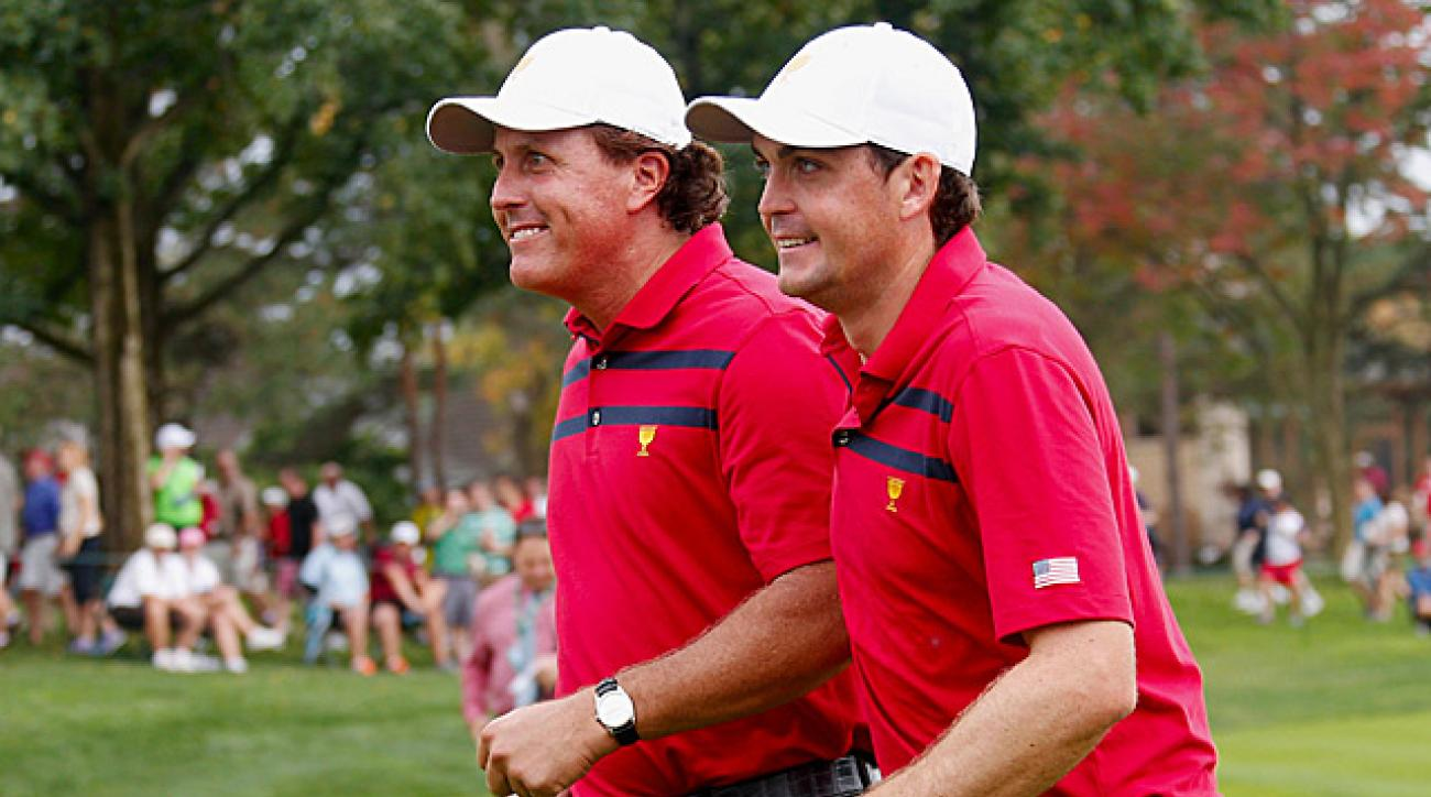 Phil Mickelson and Keegan Bradley beat Ernie Els and Brendon de Jonge 2 and 1 in Saturday four-balls.