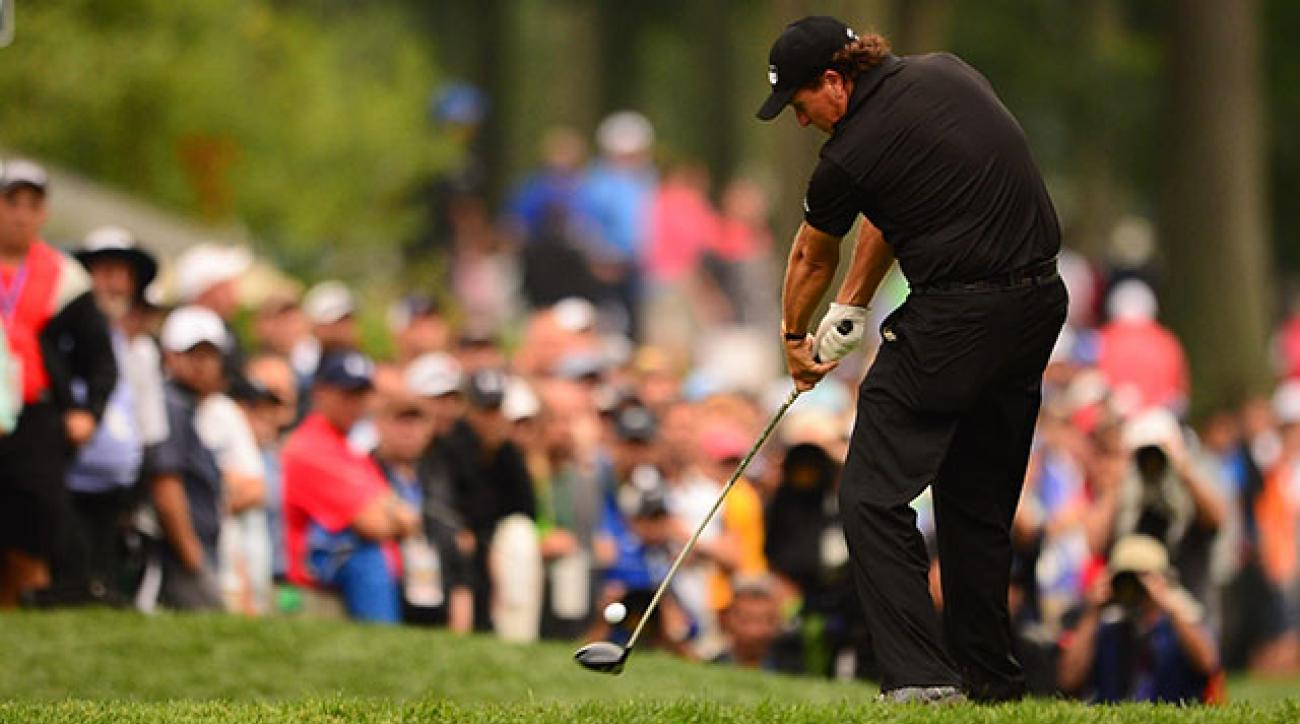 Phil Mickelson had been without a top 10 in 2014, but he shared the lead at Valhalla with three holes to go.