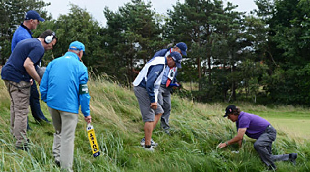 Phil Mickelson had to take an unplayable lie after finding trouble on No. 8.