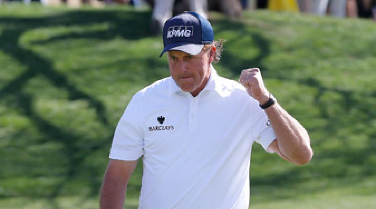 Phil Mickelson birdied five of the last six holes Saturday.