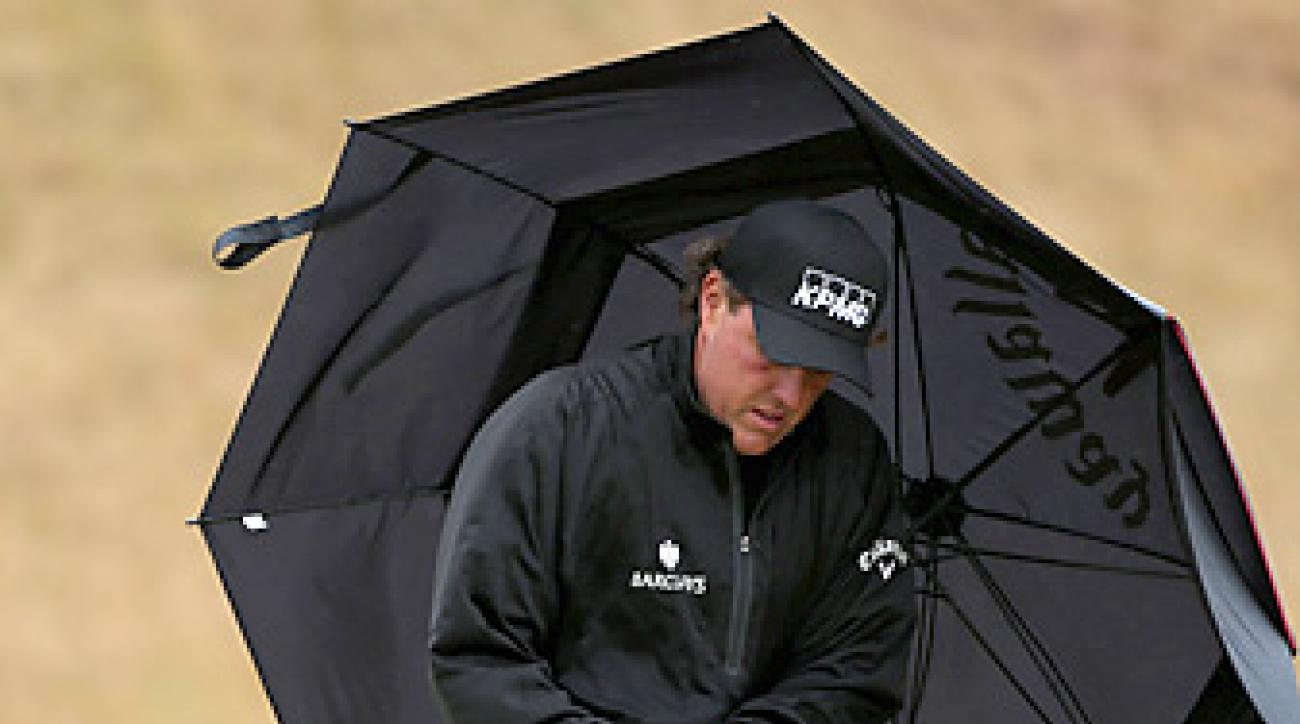 Phil Mickelson made three birdies, two bogeys and a double bogey.