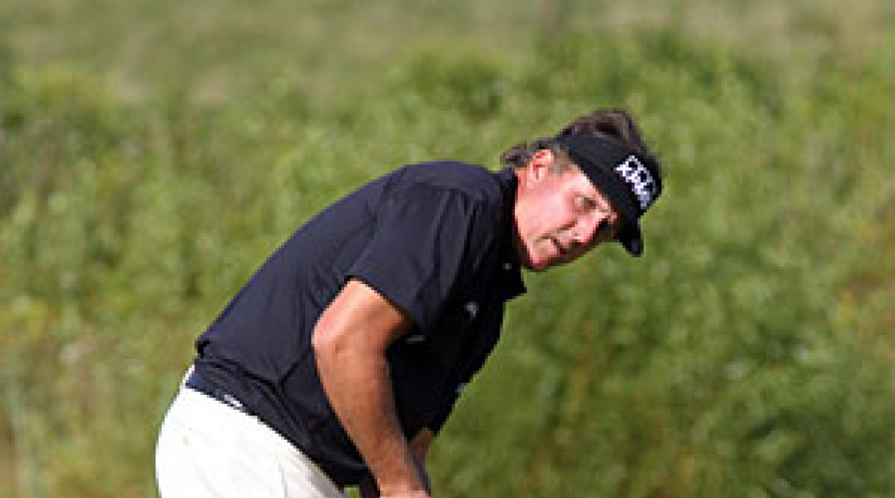 Phil Mickelson tried out a belly putter during his pro-am round on Thursday.