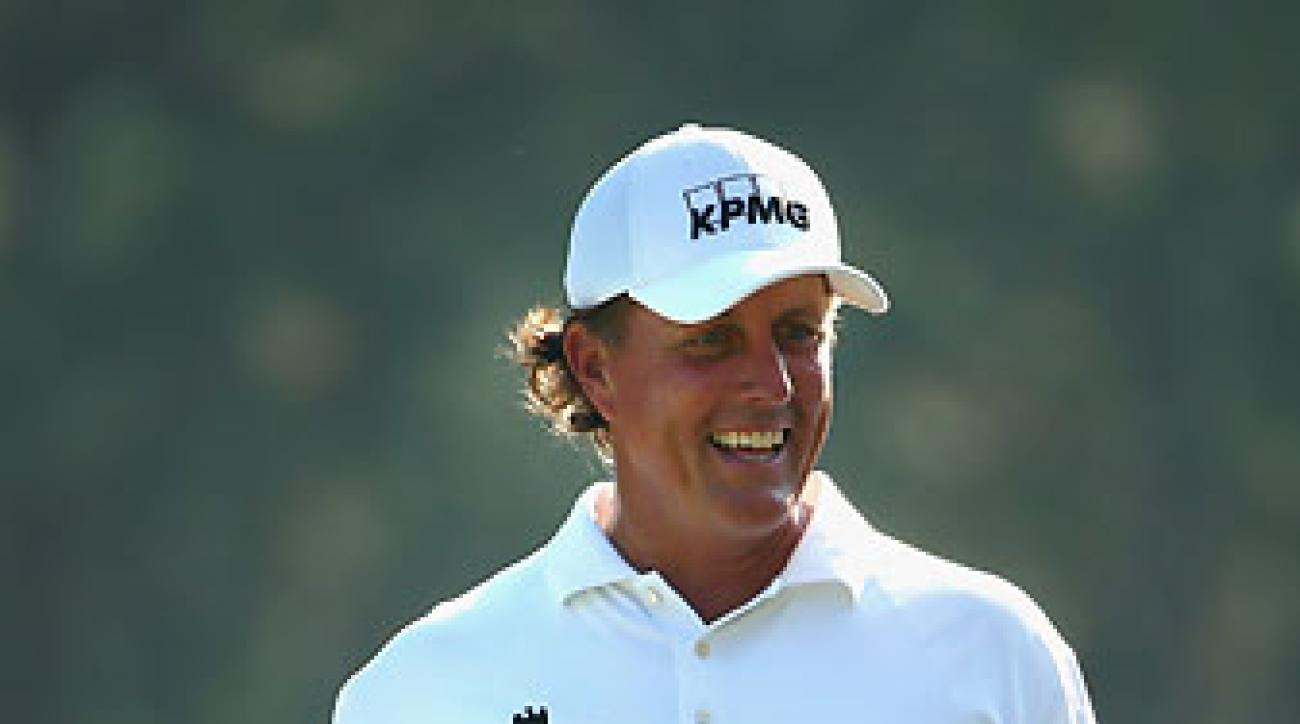 Phil Mickelson smiles during his Tuesday U.S. Open practice round at Pinehurst No. 2.