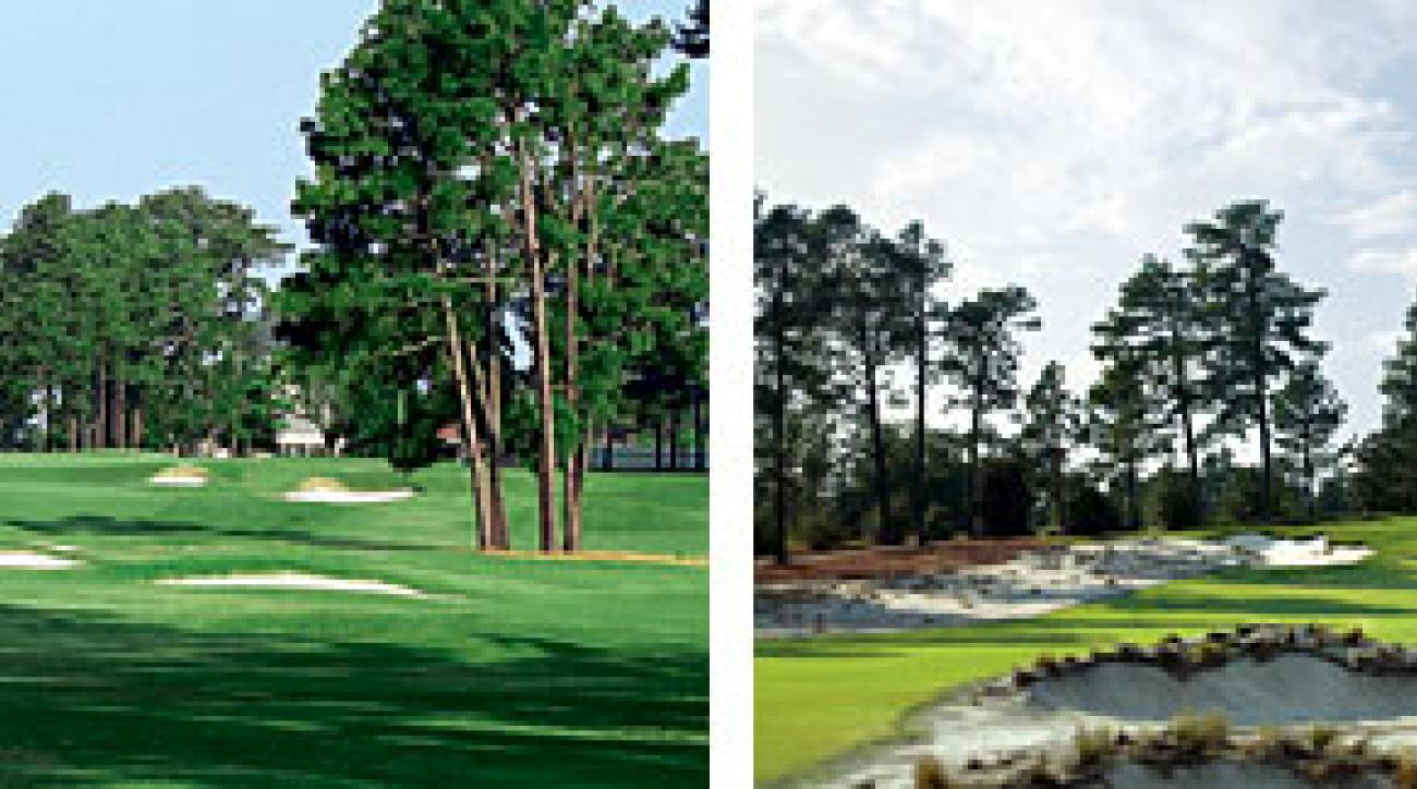 Modern Pinehurst No. 2 (right) has been restored to its more rugged mid-20th-century look.