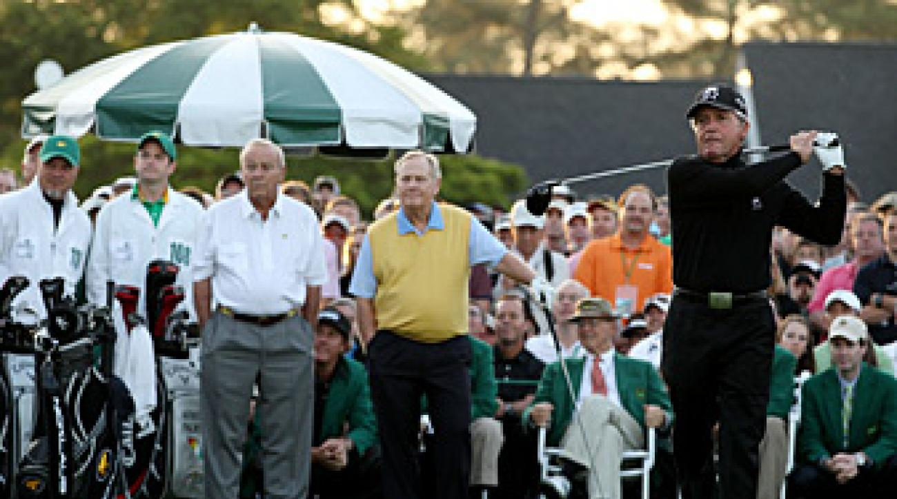 Gary Player joined Arnold Palmer and Jack Nicklaus for the ceremonial tee shot.