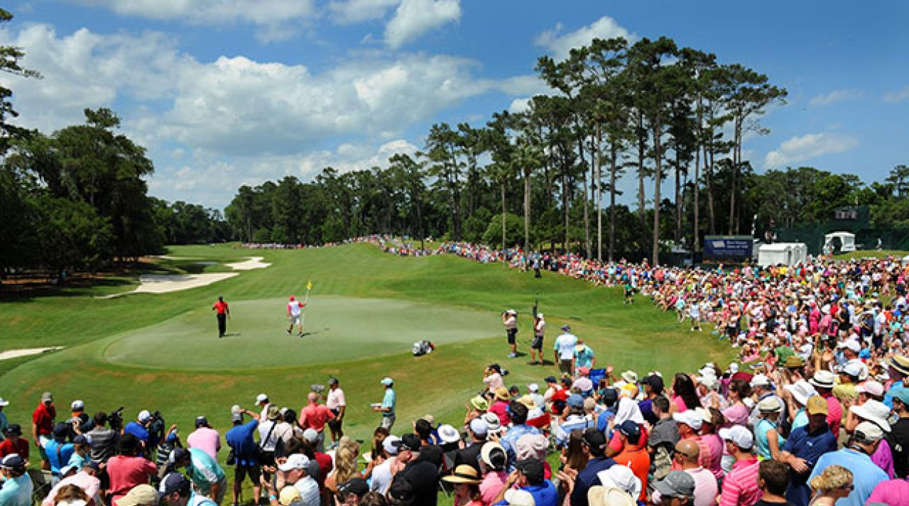 Tiger Woods plays the second hole during the final round of the 2013 Players Championship at TPC Sawgrass.