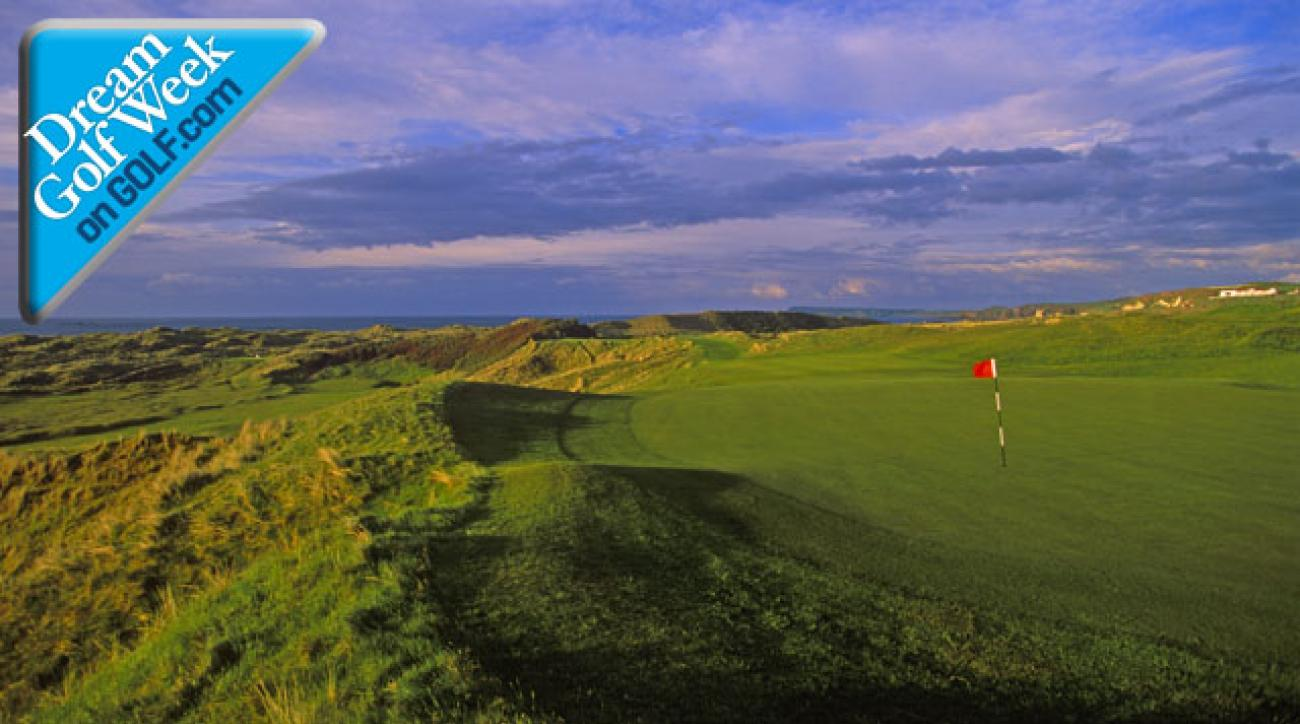The 14th hole at Northern Ireland's Royal Portrush, one of the world's most famous links courses.