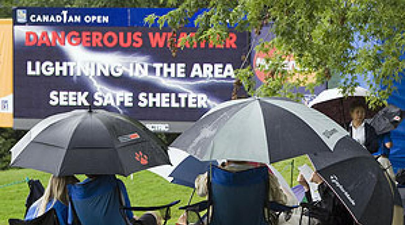 The Canadian Open was suspended due to lightning several times over the weekend.