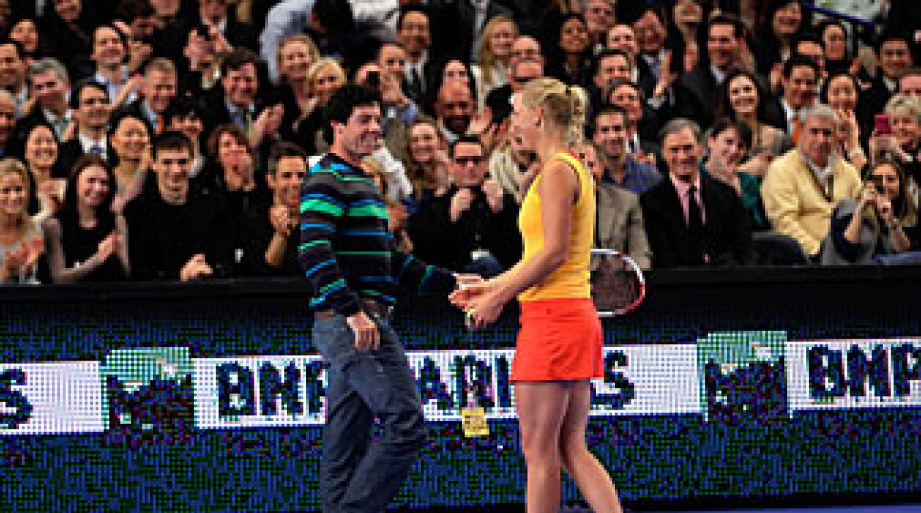Rory McIlroy got help with his tennis game from girlfriend Caroline Wozniacki earlier this month.