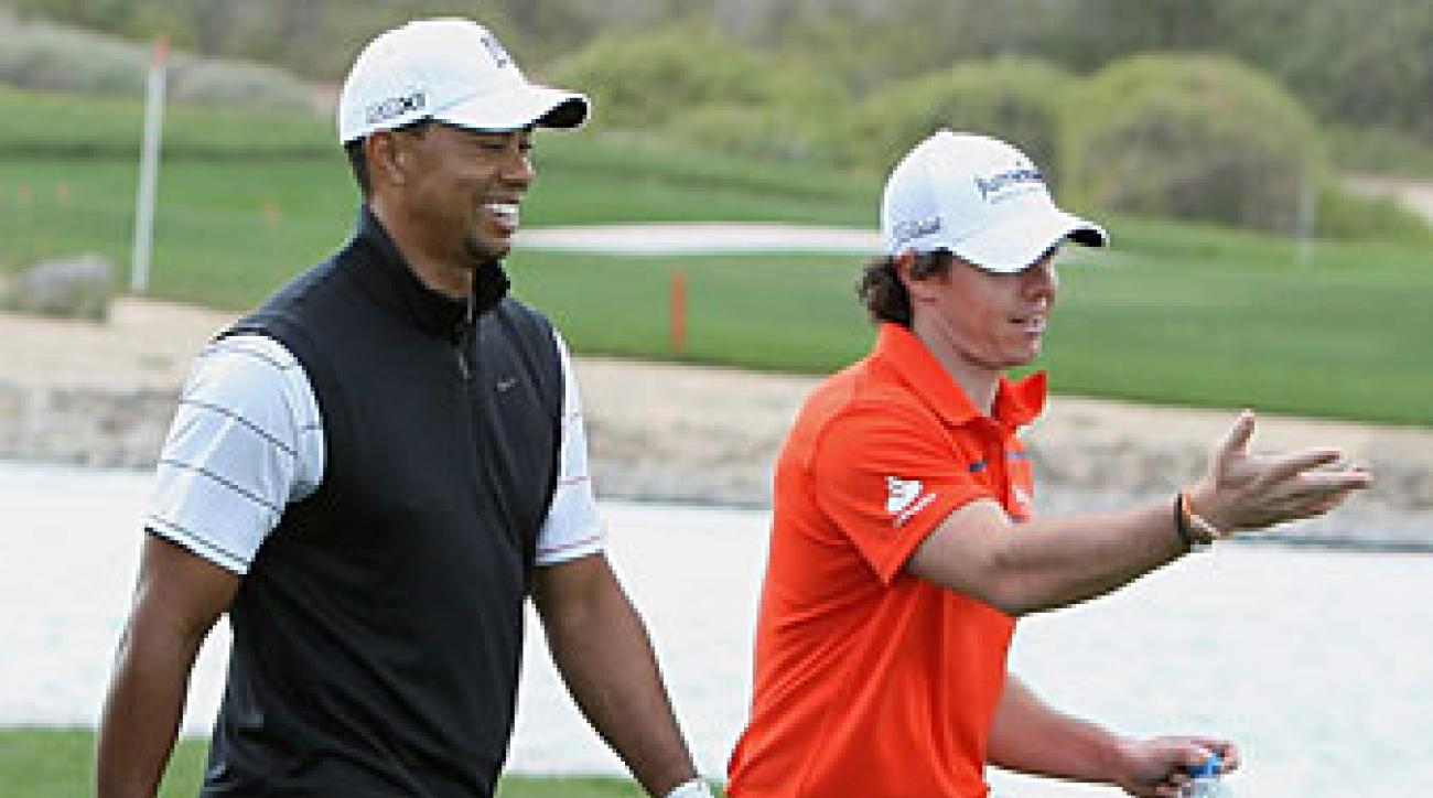 Rory McIlroy played a practice round with Tiger Woods on Tuesday.