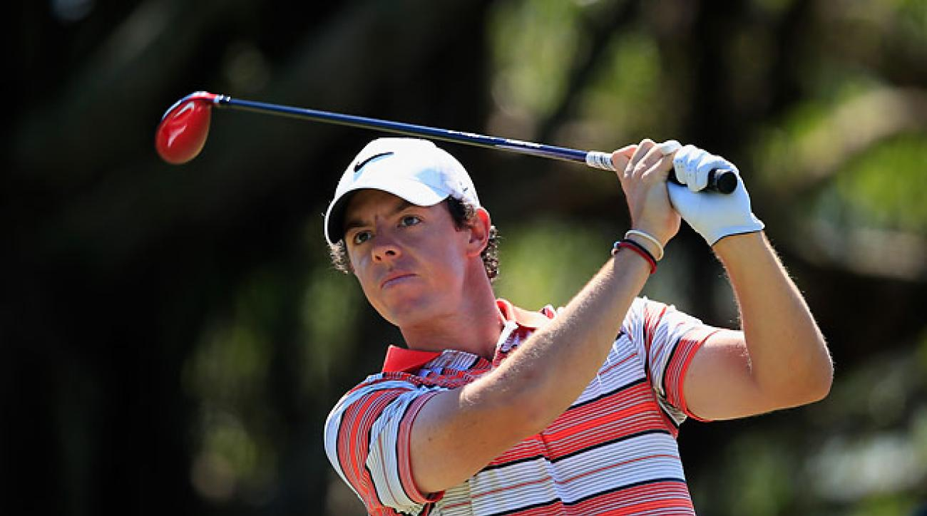 Rory McIlroy  watches his tee shot on the fifth hole during the third round of the Cadillac Championship at Trump National Doral.